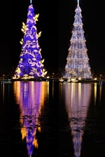 Preview iPhone wallpaper Brazil, beautiful Christmas trees, lights, river, night