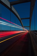 Preview iPhone wallpaper Bridge, colorful light lines, night