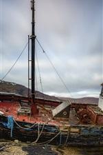 Preview iPhone wallpaper Broken ship, sea, coast