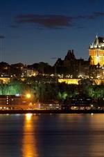 iPhone壁紙のプレビュー カナダ、ケベック州、城、家、川、ライト、夜