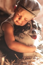 Preview iPhone wallpaper Child boy and dog, friendship
