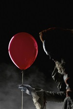 Preview iPhone wallpaper Child, witch, red balloon, horror