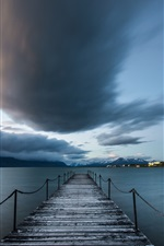 Preview iPhone wallpaper Chile, Puerto Natales, Patagonia, sea, pier, clouds
