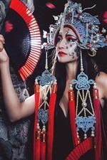 Preview iPhone wallpaper Chinese opera girl, makeup, headdress, fan