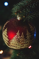 Christmas decorations, red ball, colorful lights