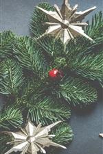 Christmas tree, stars, balls, decorations