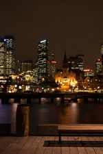 Preview iPhone wallpaper City night, buildings, lights, bench, lamps, river