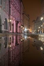 Preview iPhone wallpaper City night, street, puddles, water, lights, Prague, Czech Republic