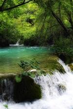 iPhone fondos de pantalla Croacia, corriente, cascada, árboles, verde