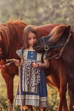 Preview iPhone wallpaper Cute child girl and two brown pony
