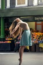 Preview iPhone wallpaper Dance girl, city street, ballerina