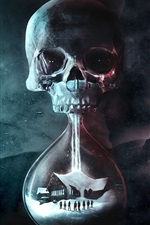 Preview iPhone wallpaper Death, skull, hourglass, house, creative picture