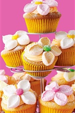 Preview iPhone wallpaper Delicious cupcakes, flowers, pink background