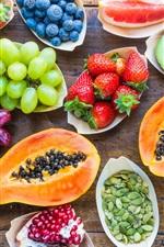 Delicious many kinds fruit, grape, lemon, strawberry, kiwi, blueberry, orange