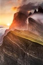 Dolomites, mountain, fog, clouds, Alps, sunrise