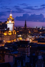 Edinburgh, Scotland, city, night, lights