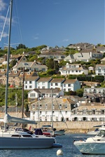 Preview iPhone wallpaper England, Cornwall, yachts, river, houses