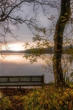 Preview iPhone wallpaper England, Cumbria, bench, lake, autumn