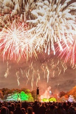 England, London, fireworks, night, people