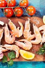 Food, shrimp, lemon, tomatoes