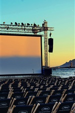 Preview iPhone wallpaper France, Cannes film festival, sea, screen, chairs