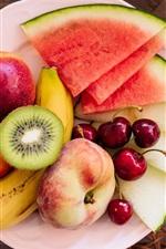 Preview iPhone wallpaper Fruit dessert, watermelon, peach, cherry, banana, kiwi