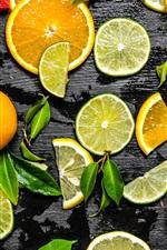 Preview iPhone wallpaper Fruit slice, lemon, lime, orange, grapefruit