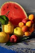 Preview iPhone wallpaper Fruit, still life, watermelon, peach, grape, lemon
