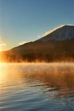 Preview iPhone wallpaper Fuji Mount, Japan, sun, water, morning, fog