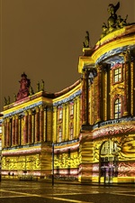 Preview iPhone wallpaper Germany, Berlin, old library, night, lights, city