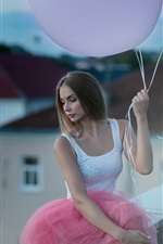 Preview iPhone wallpaper Girl and balloon, roof