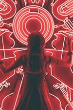iPhone fondos de pantalla Vista posterior de la muchacha, luces de neón de instrumentos musicales