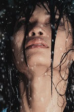 Preview iPhone wallpaper Girl in rain, wet hair