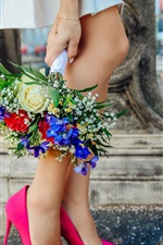 Girl legs, pink shoes, bouquet