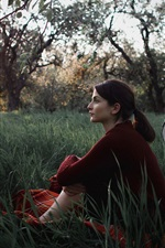 Preview iPhone wallpaper Girl sit in grass, trees, bike