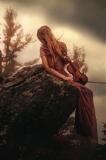 Preview iPhone wallpaper Girl sit on stone, violin, mountain top