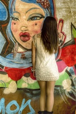 Preview iPhone wallpaper Graffiti wall, girl back view, guitar