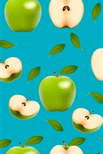 Preview iPhone wallpaper Green apples, blue background