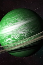 Preview iPhone wallpaper Green planet, belt, universe