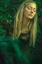 Preview iPhone wallpaper Green skirt, blonde girl, dream, art photography