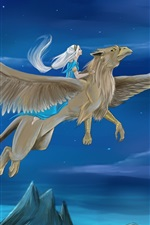 Preview iPhone wallpaper Griffin, wings, girl, night, art picture