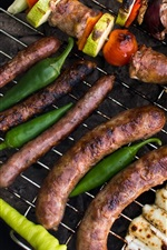 Grill, meat, sausages, kebabs