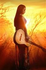 Gitarrenmädchen bei Sonnenuntergang, Bäume, Sonnenstrahlen