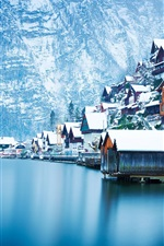 Hallstatt beautiful winter, snow, houses, lake, Austria