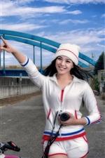 Happy Asian girl, bike