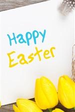 iPhone fondos de pantalla Feliz Pascua, huevos, tulipanes amarillos