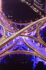 Preview iPhone wallpaper Highway, overpass, night, city, lights