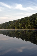 Hoosier National Forest, trees, lake, water reflection