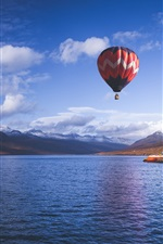 Preview iPhone wallpaper Hot air balloon, sky, mountains, fjord, sea, Iceland