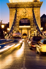 Preview iPhone wallpaper Hungary, Budapest, movement, lights, bridge, cars, night